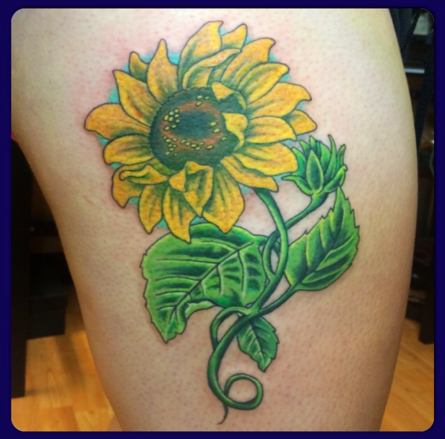 Sunflower Thigh Tattoo Sunflower Thigh Piece