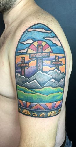 Stained Glass Tattoos By Aaron Broke